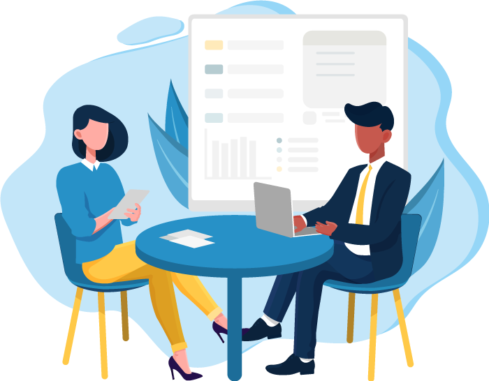 illustration of two adults at a table with laptop and graphs on board behind