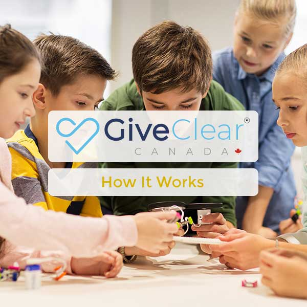 Children learning in the background - GiveClear - How It Works