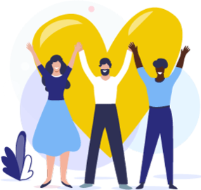 Illustration of 3 adults holding their hands up in front of a large heart