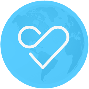 GiveClear heart icon with globe background