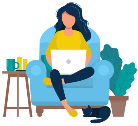 Illustration of a donor in a comfortable chair with laptop