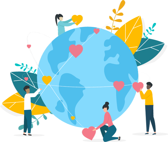 Illustration of globe with people holding hearts all over the world