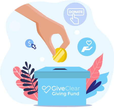 Illustration of coin being put into your GiveClear Giving Fund box
