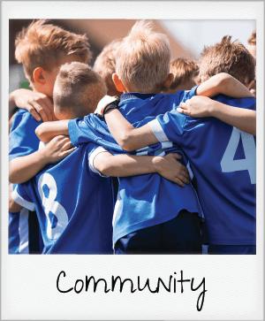 community - kids soccer team huddle